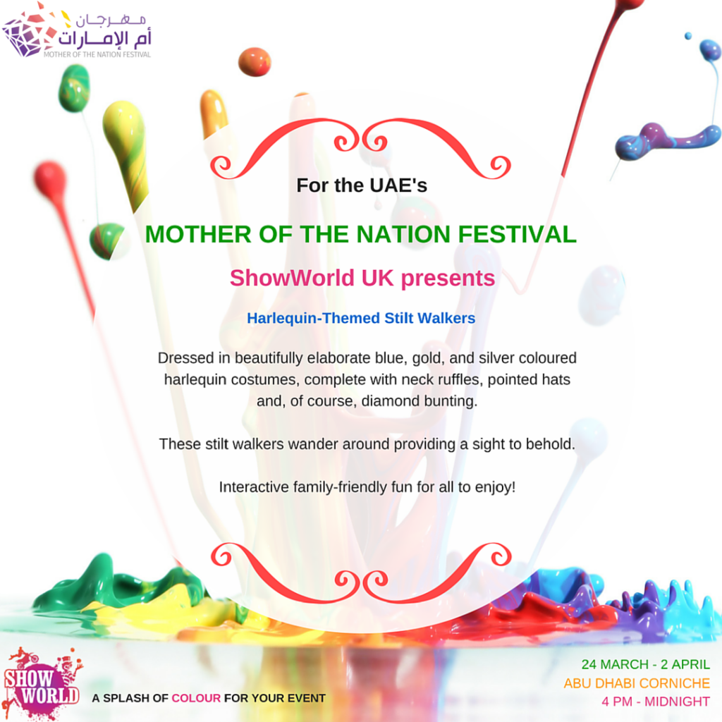 Mother-of-the-nation-festival-showworld-harlequin-themed-stilt-walkers