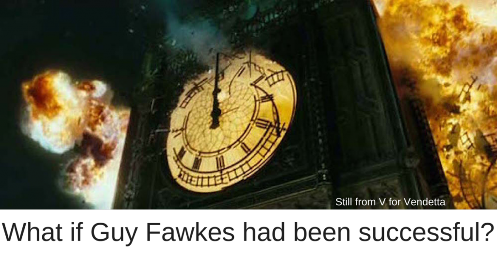 Still from V for Vendetta - Guy Fawkes - Gunpowder Plot